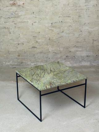 Low Table</br> Rainforest Marble & Powdercoated Steel</br> 550x550x360</br> €650,-