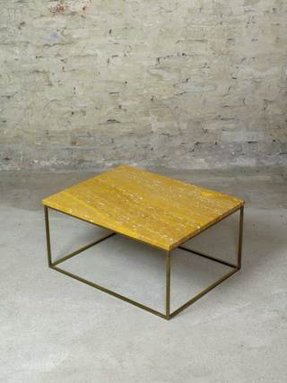 Low Table</br> Travertine & Brass</br> 660x510x320</br> €950,-